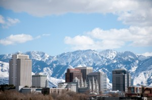 downtown salt lake city during winter