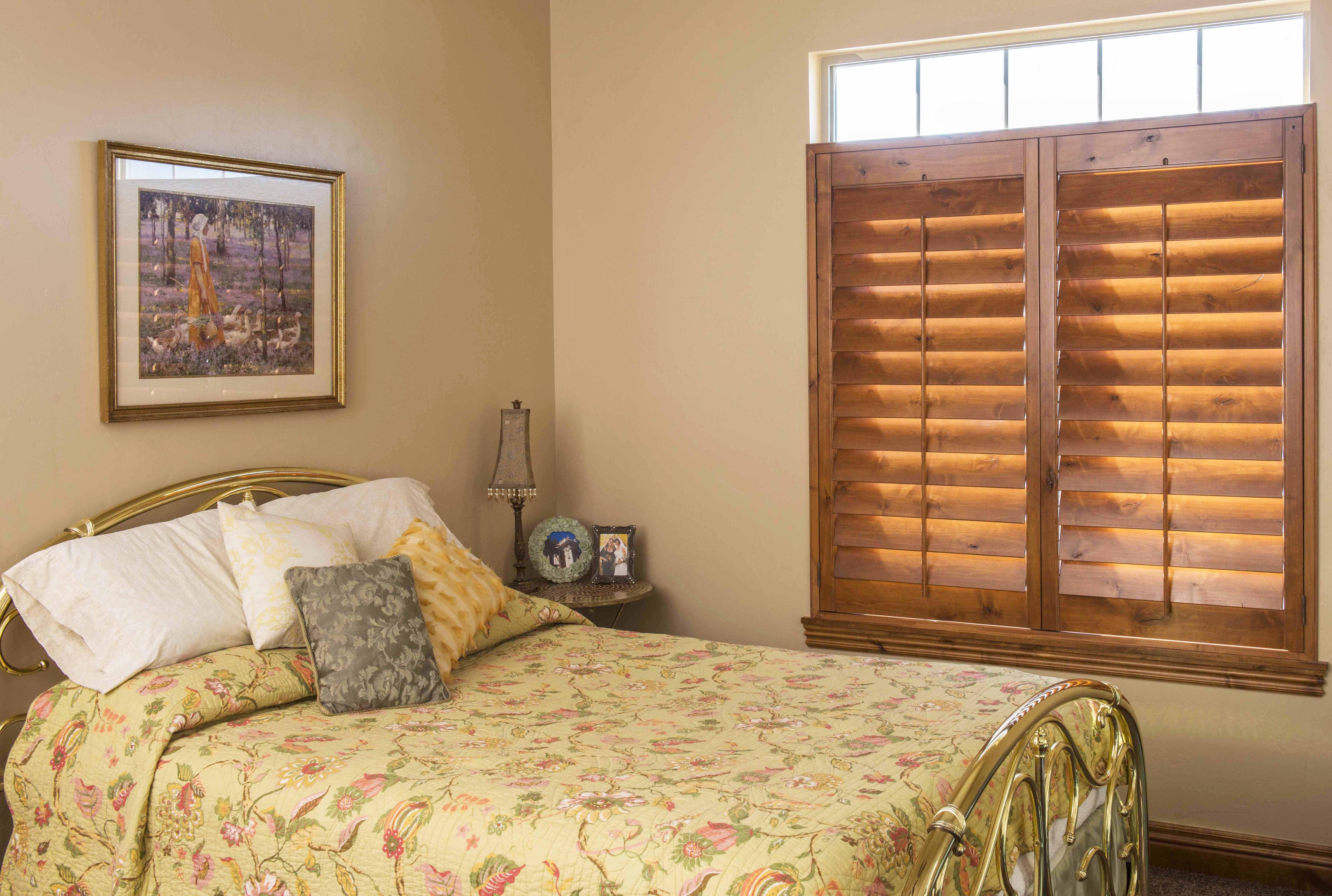 Bedroom Shutters Dark Wood Close Up