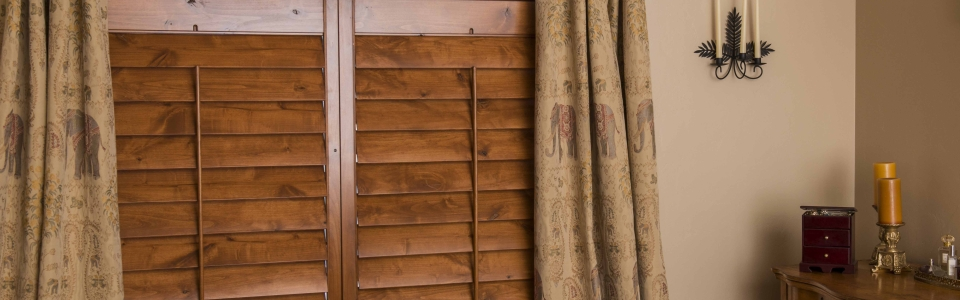 Dark Wood Custom Shutters