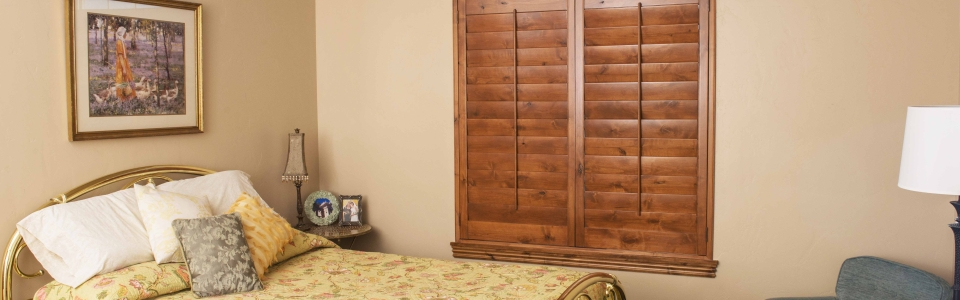 Bedroom Shutters - Dark Wood