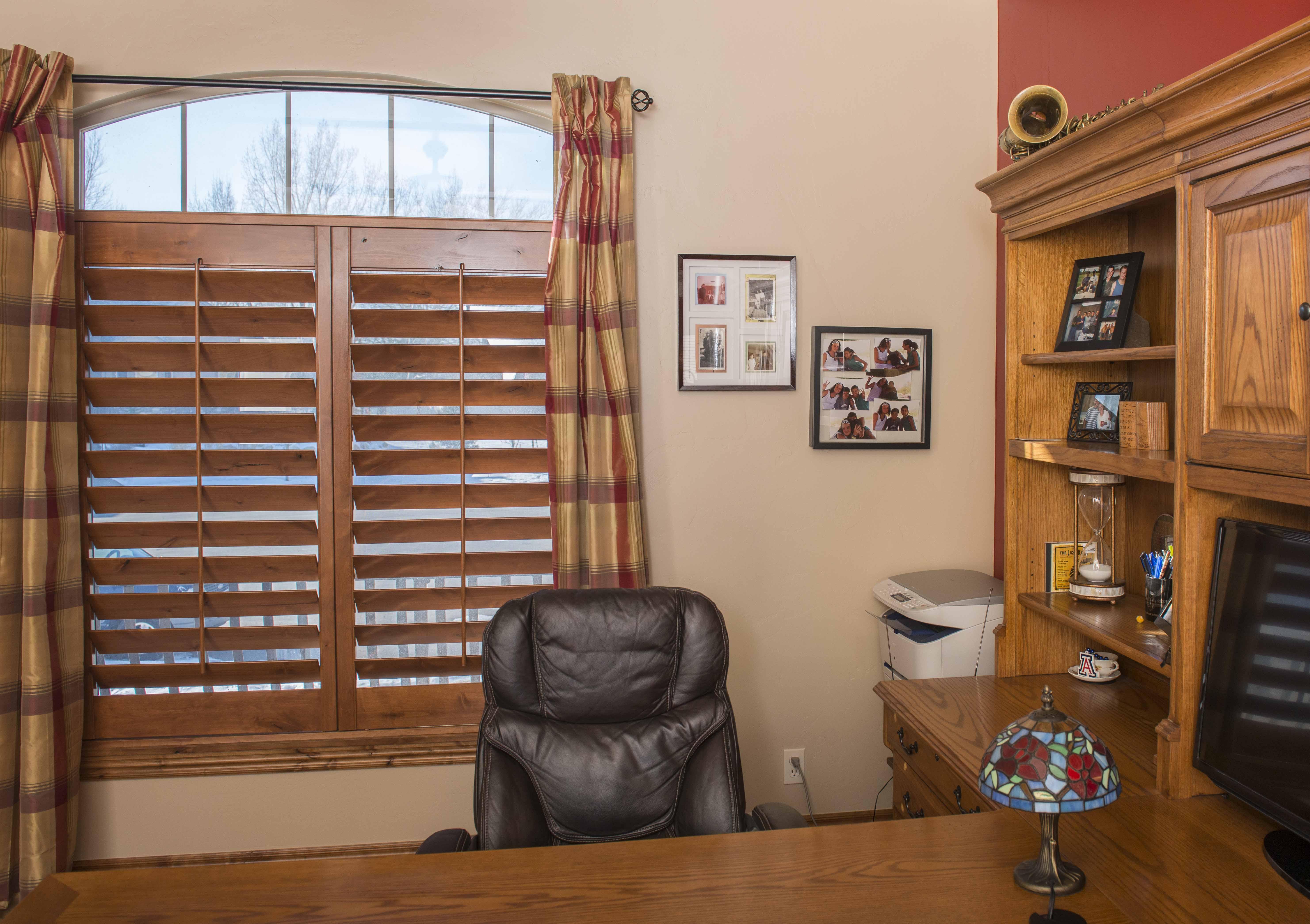 Dark Wood Shutters For Office Window